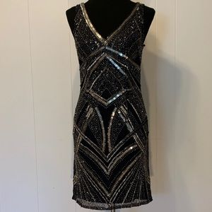 Great Gatsby Beaded Navy Dress
